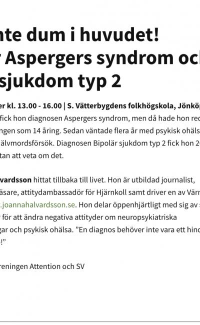 Föreläsning i Jönköping 22/11